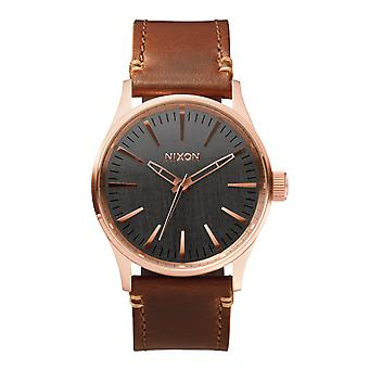 Nixon de Sentry 38 leer Rose Gold / metalen / bruin (A3772001)