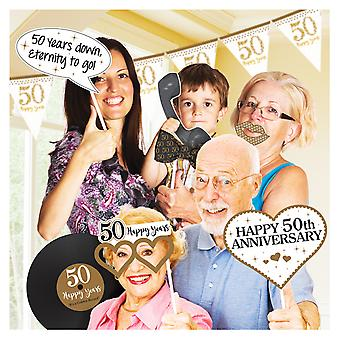 Amscan Golden Wedding Anniversary Photo Props Kit