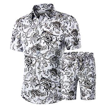 Allthemen mens Floral prints shirts Hawaiian korte mouw shirt & Shorts Set Slim fit casual zomer vakantie fancy dragen Palm shirt en korte set wit