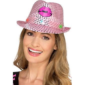 Light Up Sequin Hen Party Trilby Hat Rosa, Gallina & Stag Night, una taglia