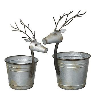 2 Small and Large Reindeer Planters