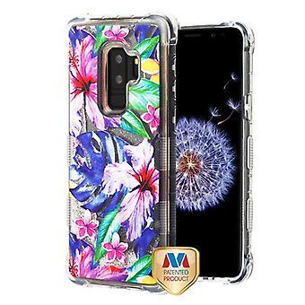MYBAT Watercolor Hibiscus/Silver TUFF Quicksand Glitter Lite Hybrid Protector Cover Cover  for Galaxy S9 Plus