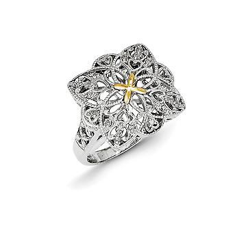 925 Sterling Silver Textured Polished Prong set With 14k 1/10ct Diamond Vintage Ring - Ring Size: 6 to 8