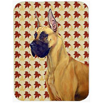 Great Dane Fall Leaves Portrait Glass Cutting Board Large