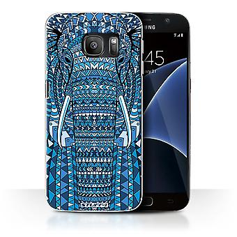 STUFF4 Case/Cover for Samsung Galaxy S7/G930/Elephant-Blue/Aztec Animal