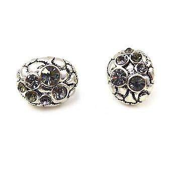 Clip On Earrings Store Deco Oval Black Diamond  and  Antique Silver Clip On Earrings