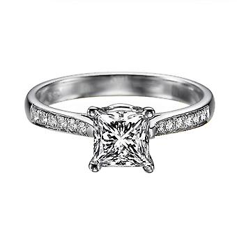 0.82 Carat F VS1 Diamond Engagement Ring 14K White Gold Solitaire w Accents Channel Set Cathedral