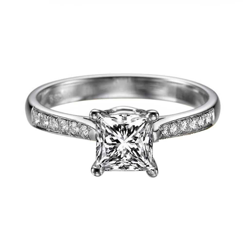 0.72 Carat F SI2 Diamond Engagement Ring 14K blanc or Solitaire w Accents Channel Set Cathedral