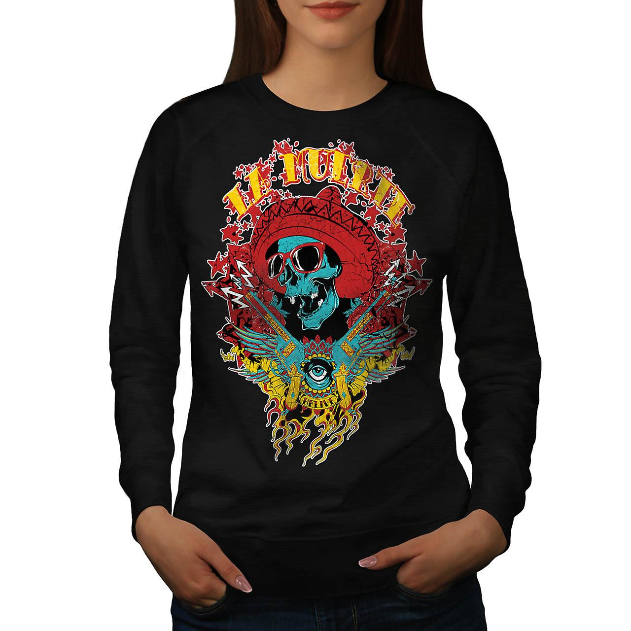 Mexico Skull Gun Life Shade Head Women Black Sweatshirt | Wellcoda