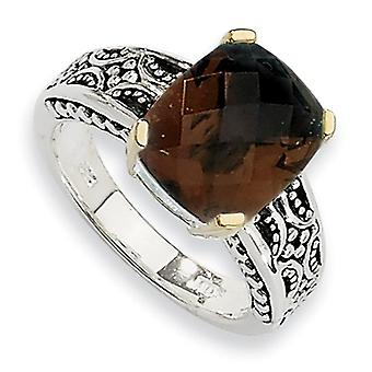 Sterling Silver With 14k 4.87Smokey Quartz Ring - Ring Size: 6 to 8