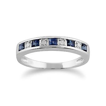 Gemondo 9ct White Gold 0.44ct Light Blue Sapphire & Diamond Half Eternity Ring