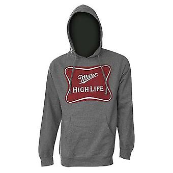 Miller High Life Logo Heath grå hætte Sweatshirt