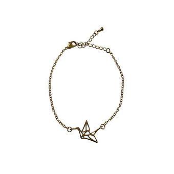 Minimalistische Anweisung Armband mit goldenen Vogel