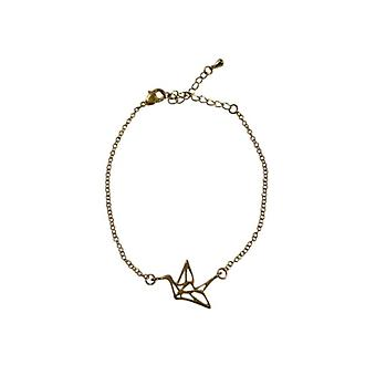 Minimalistische statement armband met vogel goudkleurig