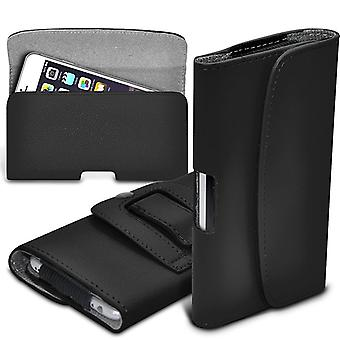 ONX3 (Black)  Huawei Honor 8 Lite  Case Premium Horizontal Faux Leather Belt Holster Pouch Cover Case
