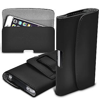 ONX3 (zwart) Huawei Honor 8 Lite Case Premium horizontale Faux leder riem Holster Pouch Cover Case