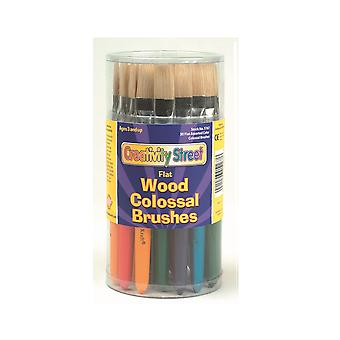 30 Flat Chunky Handled Paintbrushes for Arts and Crafts | Kids Paint Brushes