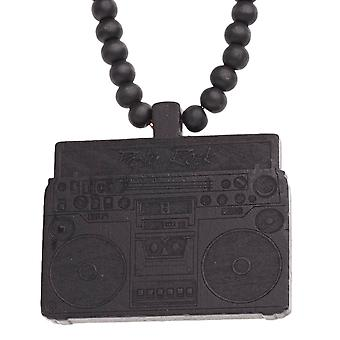 Wood style Bead Necklace - PARTY ROCK BOOM BOX black