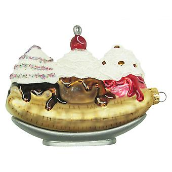 Ice Cream Dessert Banana Split Cherry on Top Glass Holiday Ornament