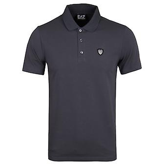 EA7 Anthracite Shield Logo Short Sleeve Polo Shirt