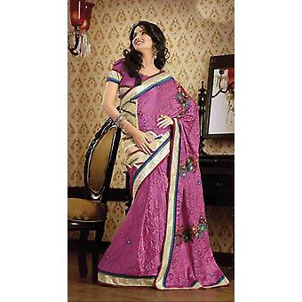 Daksha Light Pink Faux Crepe Luxus Party tragen Sari saree