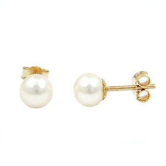 Bead earrings beads connectors gold 375 plug, 6 mm Freshwater Pearl, 9 KT GOLD