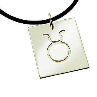 Chain zodiac sign Taurus 925 sterling silver with natural rubber necklace with pendant