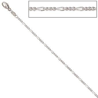 Figaro chain 585 White Gold 1.7 mm 45 cm gold chain necklace gold necklace carabiner