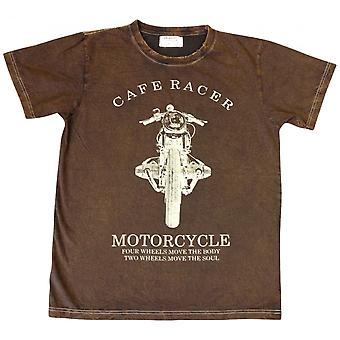Same Same Cafe Racer T-Shirt Brown Slim Fit