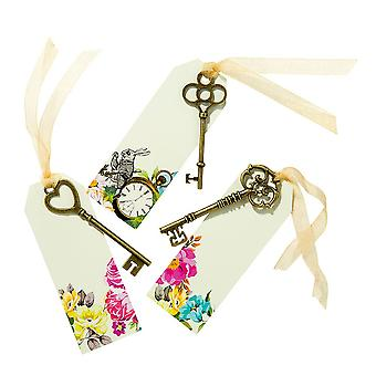 Truly Alice Curious Keys & Tags x 6 Alice in Wonderland Mad Hatters