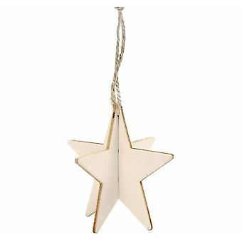 3 Interlocking Two Part Wooden Hanging Star Decorations for Christmas