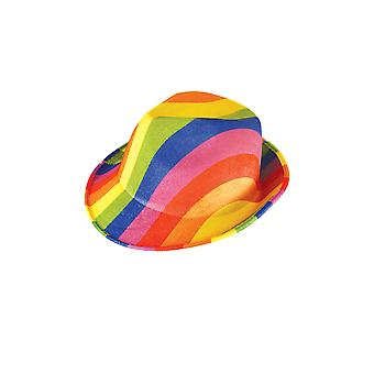 Gay Pride/ Carnival Adult Rainbow Felt Gangster Hat Fancy Dress Accessory
