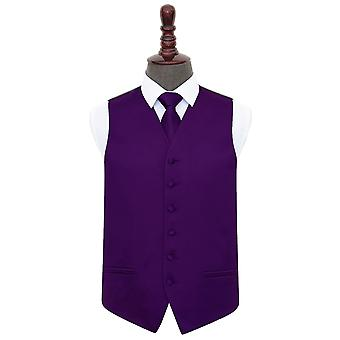 Purple Plain satijn bruiloft gilet & stropdas Set