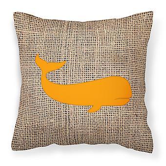 Whale Burlap and Orange   Canvas Fabric Decorative Pillow BB1021