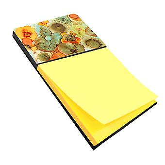 Carolines Treasures  8969SN Abstract Flowers Teal and Orange Sticky Note Holder