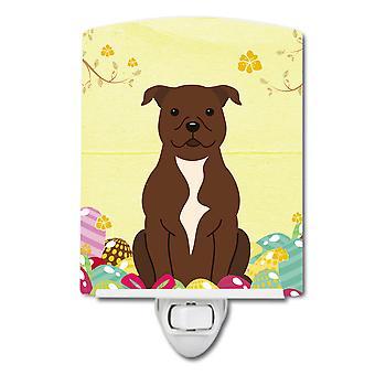 Easter Eggs Staffordshire Bull Terrier Chocolate Ceramic Night Light