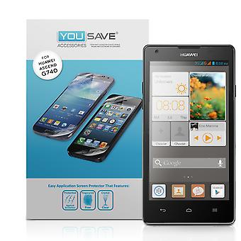 Yousave Accessories Huawei Ascend G740 Screen Protectors X3