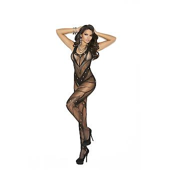 Elegant Moments EM-1650 naadloze netto haak Bodystocking met Open Kruis