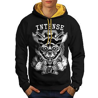 Intense Ancient Fashion Men Black (Gold Hood) Contrast Hoodie | Wellcoda