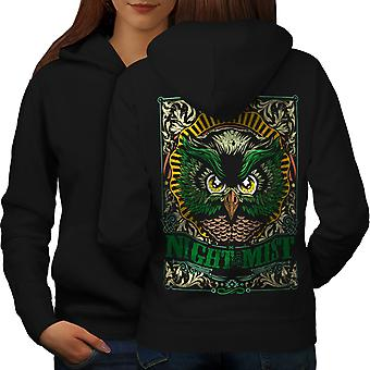 Night Mist Owl Fashion Women BlackHoodie Back | Wellcoda