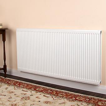 Centre Tap Round Top Radiator - Double - Type 22 - White - H500 x W400mm