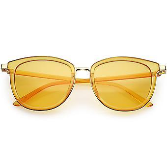 Genomskinlig metall Trim Square Horn kantad solglasögon färg tonade lins 53mm