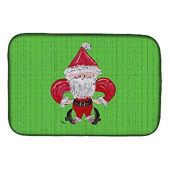 Carolines Treasures  8500DDM Christmas Fleur de lis Santa Claus Dish Drying Mat
