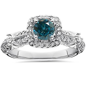 1 1/2ct Blue Diamond Cushion Halo Vintage Engagement Ring 14K White Gold
