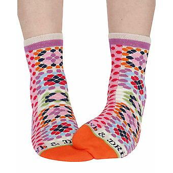Patchwork women's cotton crew socks in violet | Dub & Drino