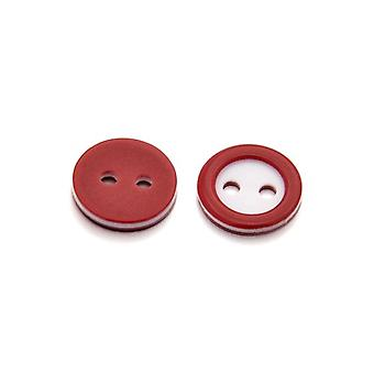 Packet 10 x Dark Red/White Resin 11mm Round 2-Holed Sew On Buttons HA14465