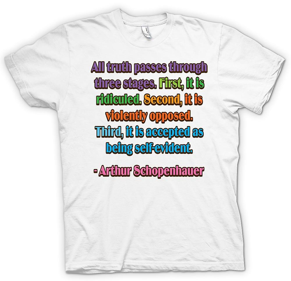 Womens T-shirt - All Truth & Three Stages Quote - Arthur Schopenhauer