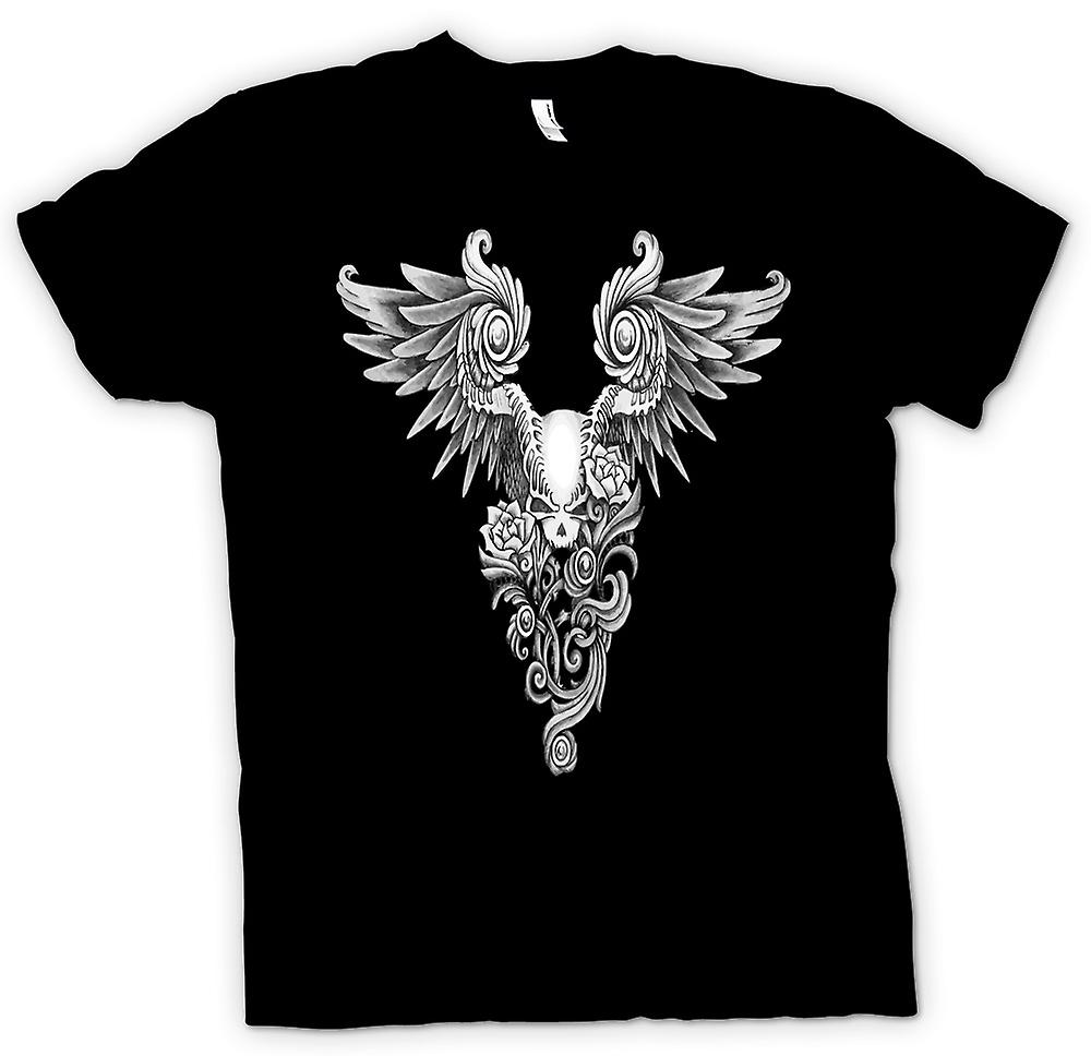 Herr T-shirt-Skull skiss Tattoo B&W