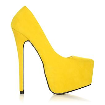 DONNA Yellow Faux Suede Stilleto Very High Heel Platform Court Shoes