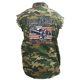 Men's Camo Sleeveless Denim Shirt American Speed Shop Hot Rod Car Racer